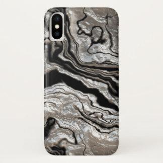 Flüssiges silbernes schwarzes Marmormuster iPhone X Hülle