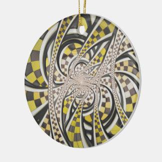 Flüssiges Taxi-Fahrerhaus, ein gelbes Checkered Keramik Ornament