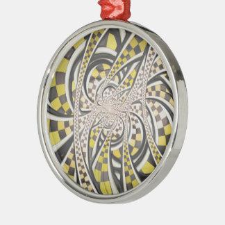 Flüssiges Taxi-Fahrerhaus, ein gelbes Checkered Silbernes Ornament