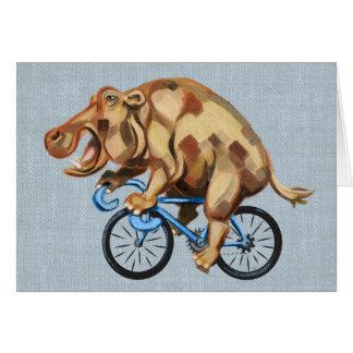 Flusspferd auf einem Fahrrad Karte