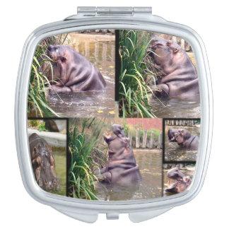 Flusspferd-Foto-Collage, Schminkspiegel