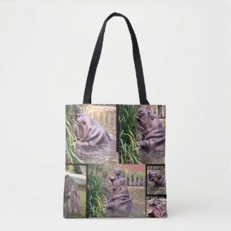 Flusspferd-Foto-Collage, Tasche