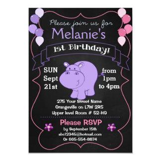 Flusspferd-Geburtstags-Party Einladungen
