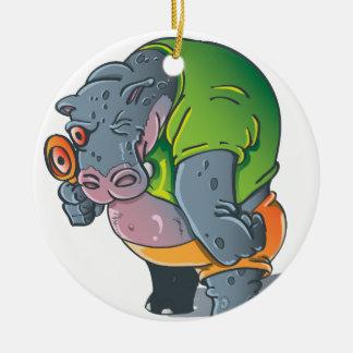 Flusspferd-Grafik Rundes Keramik Ornament