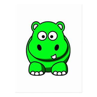 Flusspferd-Grün Postkarte