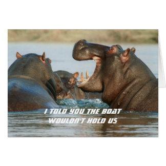Flusspferd-lustige nährende Ermutigungs-Karte Mitteilungskarte