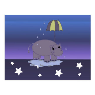 Flusspferd mit Regenschirm Postkarte