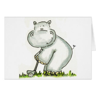 Flusspferd spielt Golf Karte