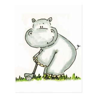 Flusspferd spielt Golf Postkarte