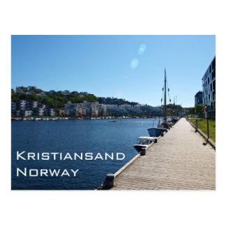 Flussufer-Ansicht in Kristiansand, Norwegen Postkarte