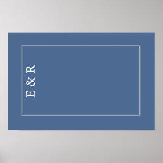 Flussufer-Blau mit weißem Hochzeits-Detail Poster