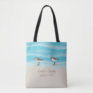 Flussuferläufer auf Strand-Hochzeits-Datums-Namen Tasche