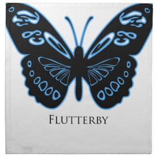 Flutterby schwarzes blaues Glühen Stoffserviette