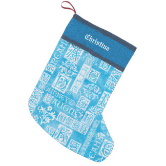 Flutterby Winter-Vers-Blau addiert Namen Kleiner Weihnachtsstrumpf