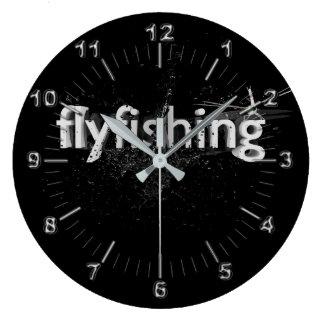 Flyfishing Schwarzweiss Große Wanduhr
