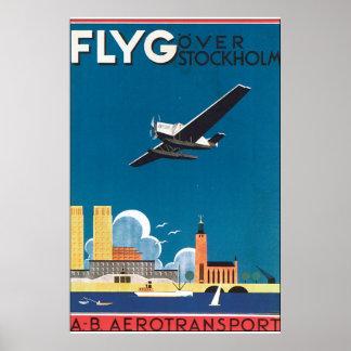 FlyG über Vintagem Reise-Plakat Stockholms Poster