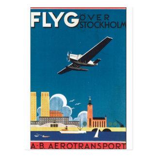 FlyG über Vintagem Reise-Plakat Stockholms Postkarte