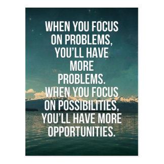 Fokus auf Möglichkeits-Zitat Postkarte