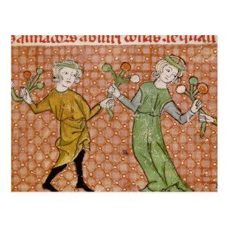 Fol.215v die Versuchung: Ein Tanzen-Paar Postkarte