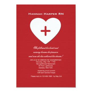 Folgen Sie Ihrem Herz-Krankenpflege-SchulAbschluss 12,7 X 17,8 Cm Einladungskarte
