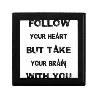 folgen Sie Ihrem Herzen nehmen Ihr Gehirn mit Schmuckschachtel