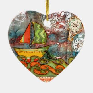 Folgen Sie Ihrem rechtweisend Nord Keramik Herz-Ornament