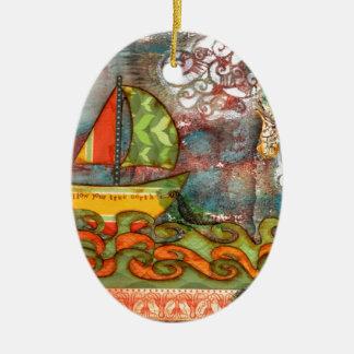 Folgen Sie Ihrem rechtweisend Nord Ovales Keramik Ornament
