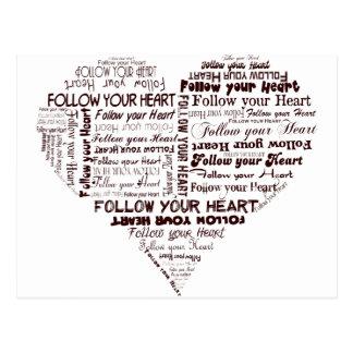 Folgen Sie Ihrem Schwarzweiss Herzen Postkarte