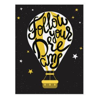 Folgen Sie Ihrem Traum-Ballon Postkarte