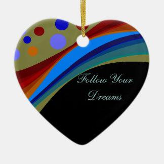 Folgen Sie Ihren Traum-Regenbogen und Keramik Herz-Ornament