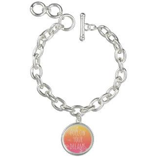 Folgen Sie Ihren Träumen Rosa und orange Charm Armband