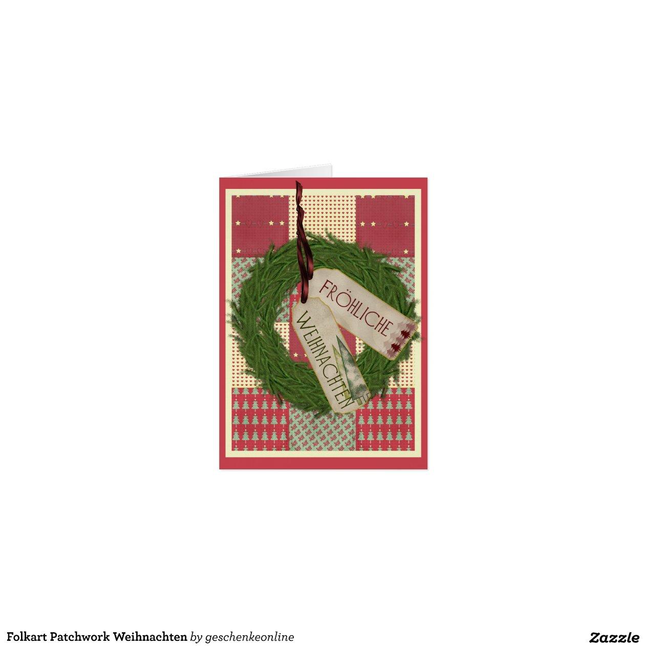 folkart patchwork weihnachten gru karte zazzle. Black Bedroom Furniture Sets. Home Design Ideas