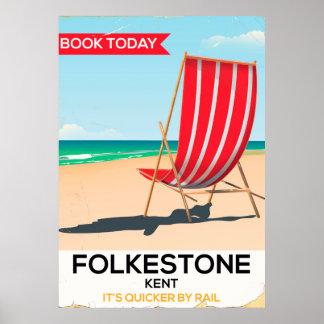 Folkestone Kent, BRITISCHES Vintages Poster