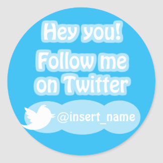 Follow-me auf Twitter-Einzelteilen Runder Sticker