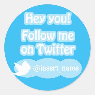 Follow-me auf Twitter-Einzelteilen Runder Aufkleber