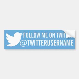 Follow-me auf Twitter (kundengerechtes username) Autoaufkleber