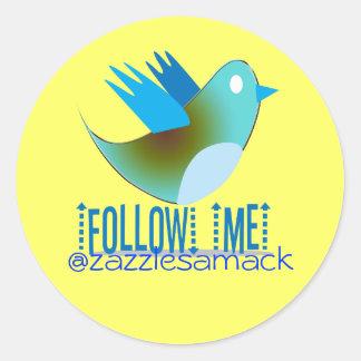 Follow-me IHRE Twitter-Adresse Runder Sticker