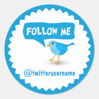 Follow-meTwitter-blauer Vogel-coole runde Runder Aufkleber