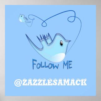 Follow-meTwitter-Geschenke und Wirbels-T - Shirts Plakate