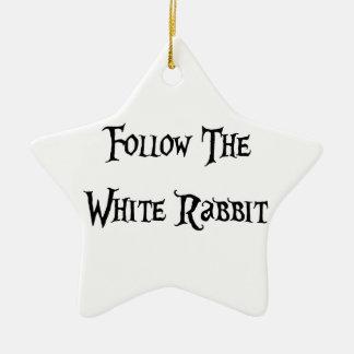 Follow the Whiter Rabbit Alice Keramik Ornament