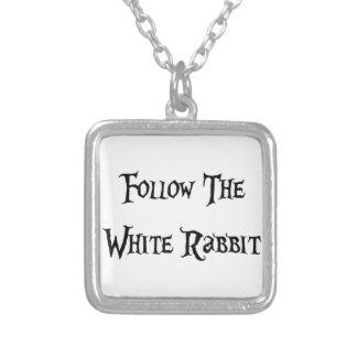 Follow the Whiter Rabbit Alice Versilberte Kette