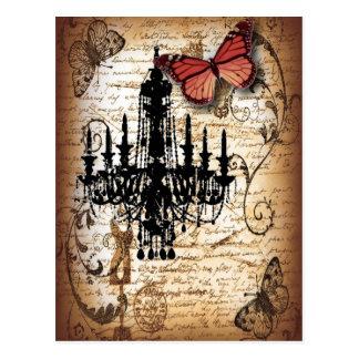 fondo Vintage Leuchter-Schmetterlingsmode Postkarte