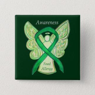 Food Allergy Awareness Angel Green Ribbon Art Pin Quadratischer Button 5,1 Cm