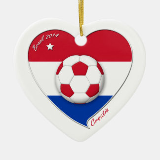 "Football ""CROATIA"" Soccer Team Fußball Kroatien 20 Keramik Herz-Ornament"