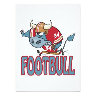 Footbull lustiger Fußball-Stier-Cartoon Individuelle Einladungskarte