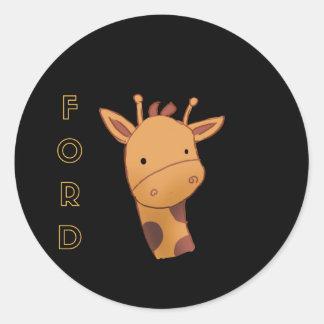 Ford die Giraffe Runder Aufkleber