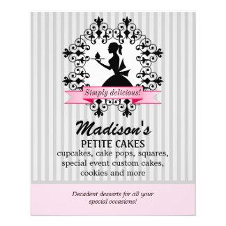 Fördernde Silhouette-Dame Cupcake Pink Silver 11,4 X 14,2 Cm Flyer