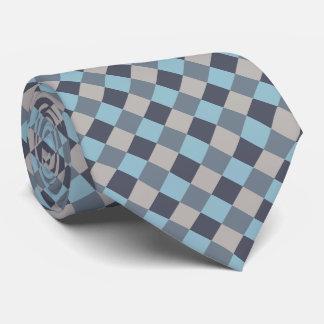 Forelle-blaues Grau-Baumwollsamen-Schachbrett Krawatte