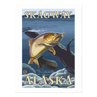 Forelle, die Querschnitt - Skagway, Alaska fischt Postkarte