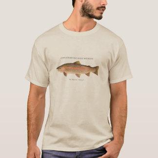 Forellefischen mit Vintagem Bild der T-Shirt